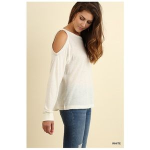 Tops - White Long Sleeve Cold Shoulder Blouse S/M/L
